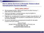 how to advise survivors of domestic violence about unemployment insurance benefits