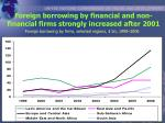 foreign borrowing by financial and non financial firms strongly increased after 2001