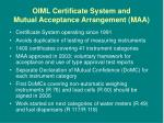 oiml certificate system and mutual acceptance arrangement maa