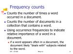 frequency counts