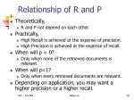 relationship of r and p