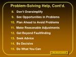 problem solving help cont d