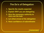 the do s of delegation