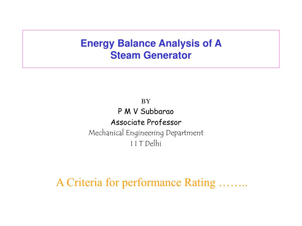 energy balance analysis of a steam generator l.