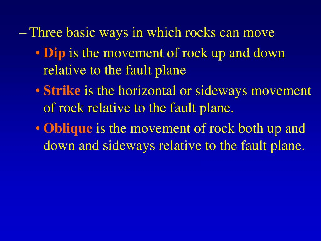 Three basic ways in which rocks can move