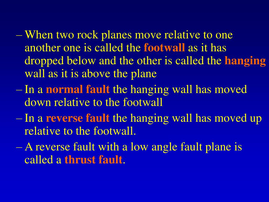 When two rock planes move relative to one another one is called the