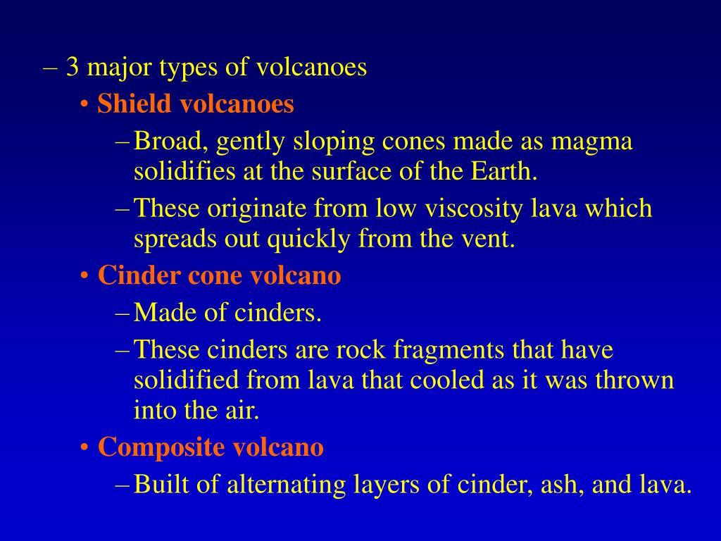 3 major types of volcanoes