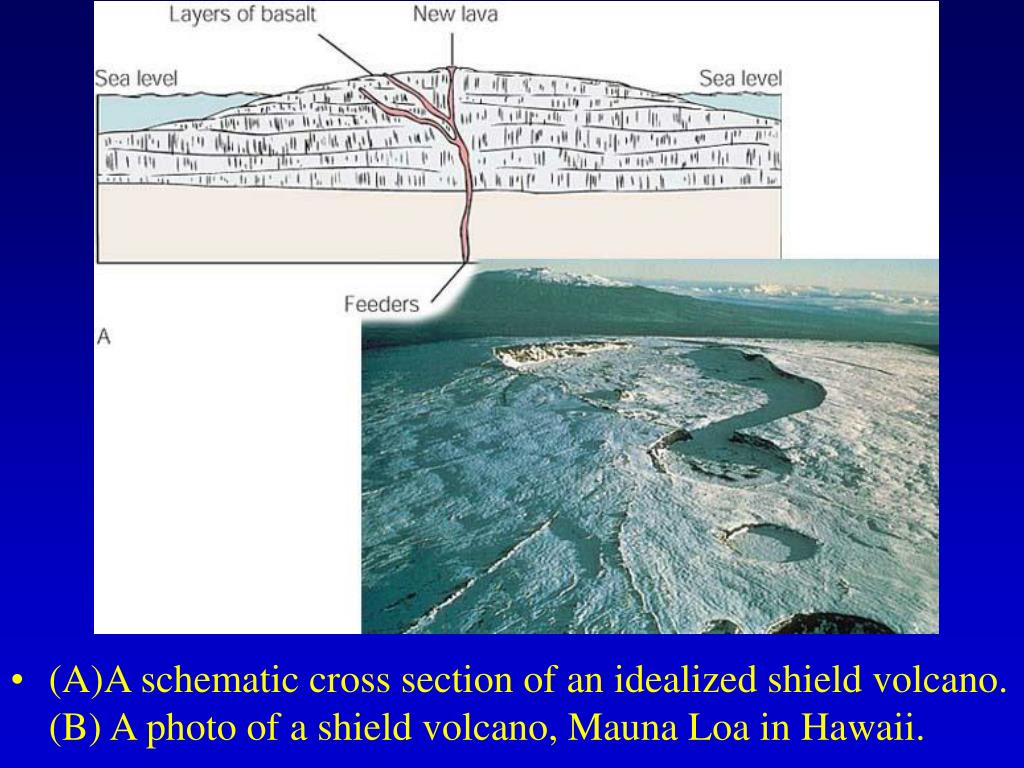 (A)A schematic cross section of an idealized shield volcano. (B) A photo of a shield volcano, Mauna Loa in Hawaii.