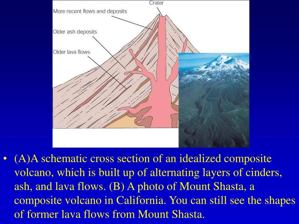 (A)A schematic cross section of an idealized composite volcano, which is built up of alternating layers of cinders, ash, and lava flows. (B) A photo of Mount Shasta, a composite volcano in California. You can still see the shapes of former lava flows from Mount Shasta.