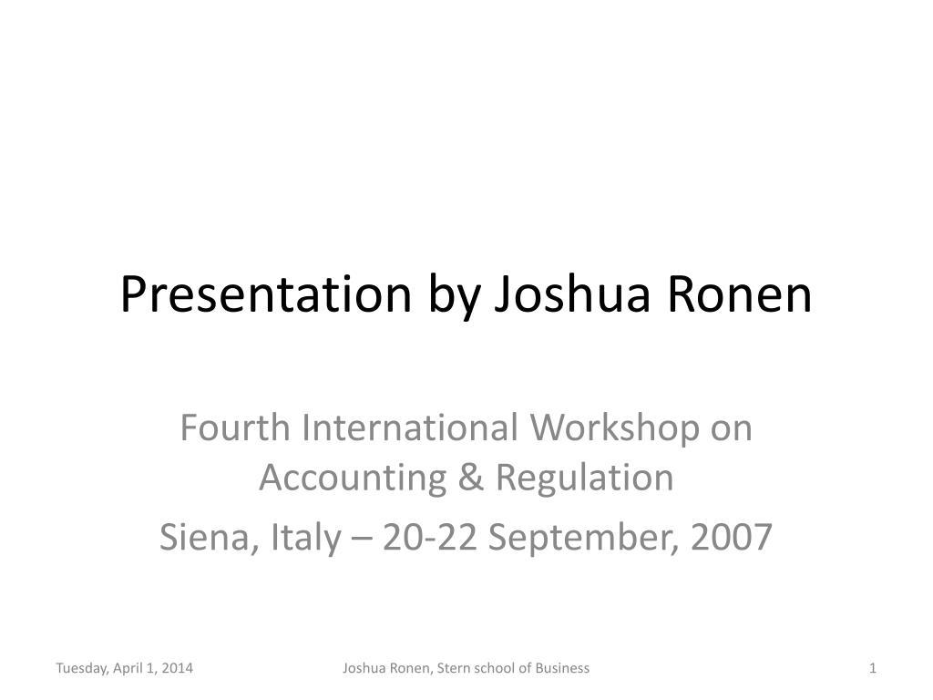 presentation by joshua ronen l.