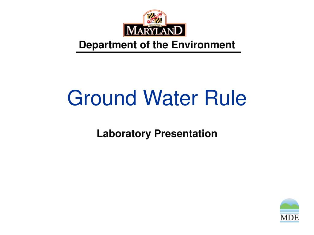 ground water rule l.