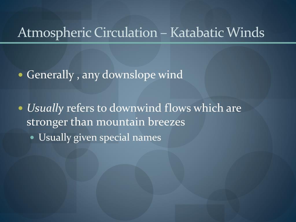 Atmospheric Circulation – Katabatic Winds