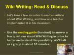 wiki writing read discuss