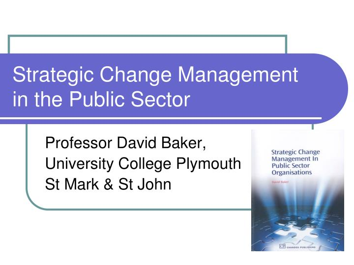strategic change management in the public sector n.