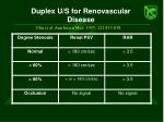 duplex u s for renovascular disease