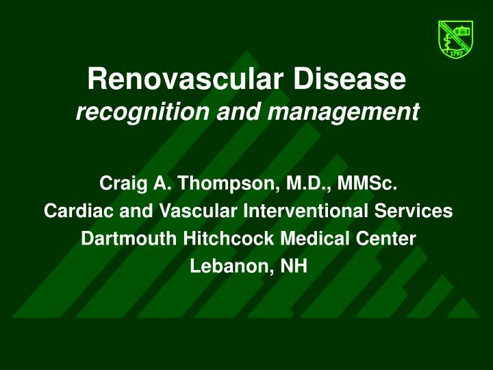 renovascular disease recognition and management n.
