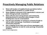 proactively managing public relations