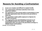 reasons for avoiding a confrontation