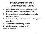 steps common to most confrontational crises