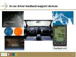 in car driver feedback support devices