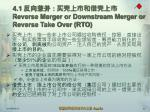 4 1 reverse merger or downstream merger or reverse take over rto