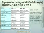 expenses for listing on nasdaq example