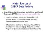 major sources of csscr data archive5