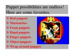 puppet possibilities are endless here are some favorites