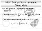 fonc for equality inequality constraints