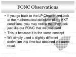 fonc observations