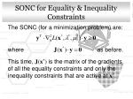 sonc for equality inequality constraints