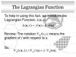 the lagrangian function