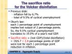 the sacrifice ratio for the volcker disinflation32