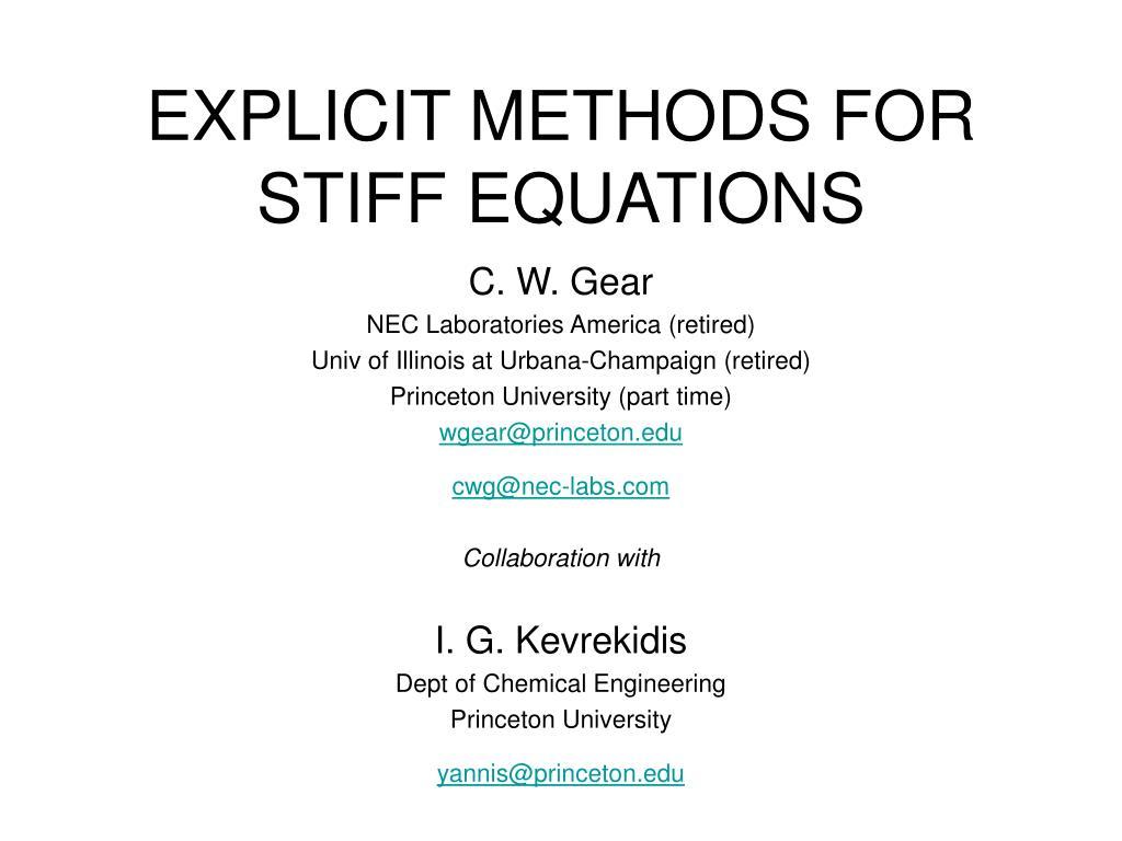 explicit methods for stiff equations l.