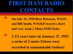 first ham radio contacts