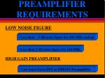 preamplifier requirements