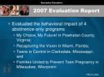 2007 evaluation report