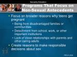 programs that focus on non sexual antecedents