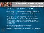 sex and contraceptive counseling