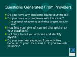 questions generated from providers
