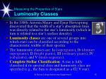 measuring the properties of stars luminosity classes