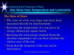 measuring the properties of stars star sizes from temperature and luminosity