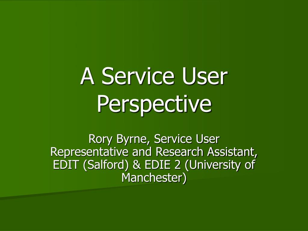 a service user perspective l.