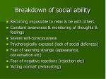 breakdown of social ability