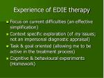 experience of edie therapy