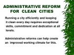 administrative reform for clean cities