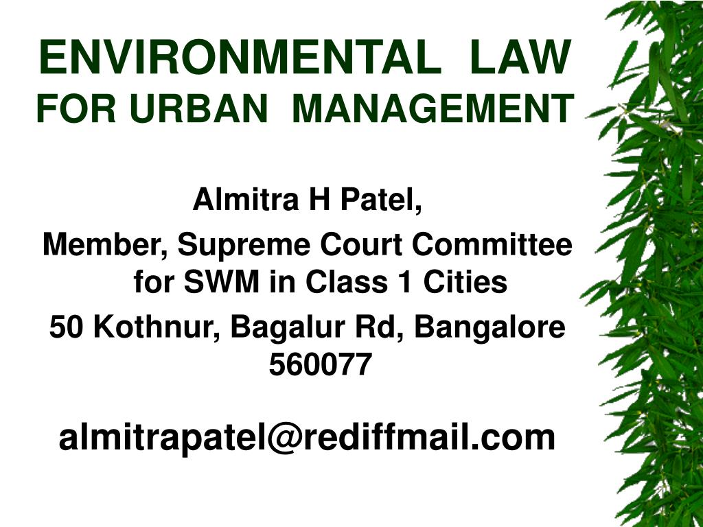 environmental law for urban management l.