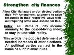 strengthen city finances