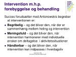 intervention m h p forebyggelse og behandling