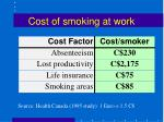 cost of smoking at work